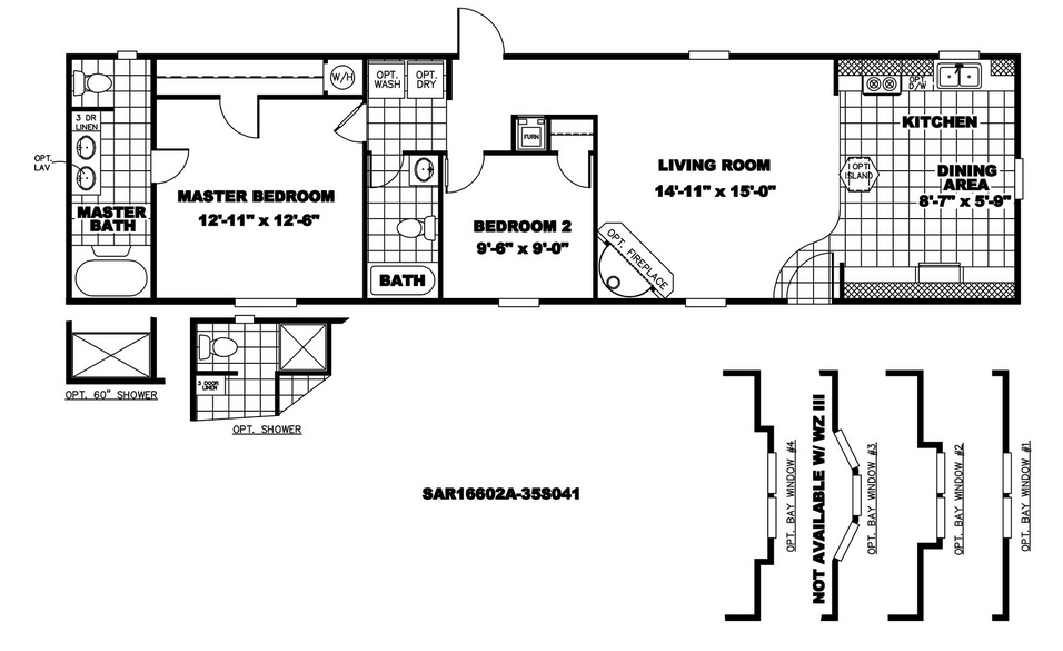 16 x 60 Mobile Home Floor Plans