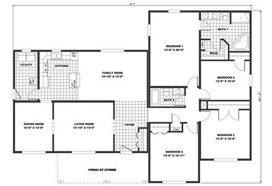 16 x 70 Mobile Home Floor Plans