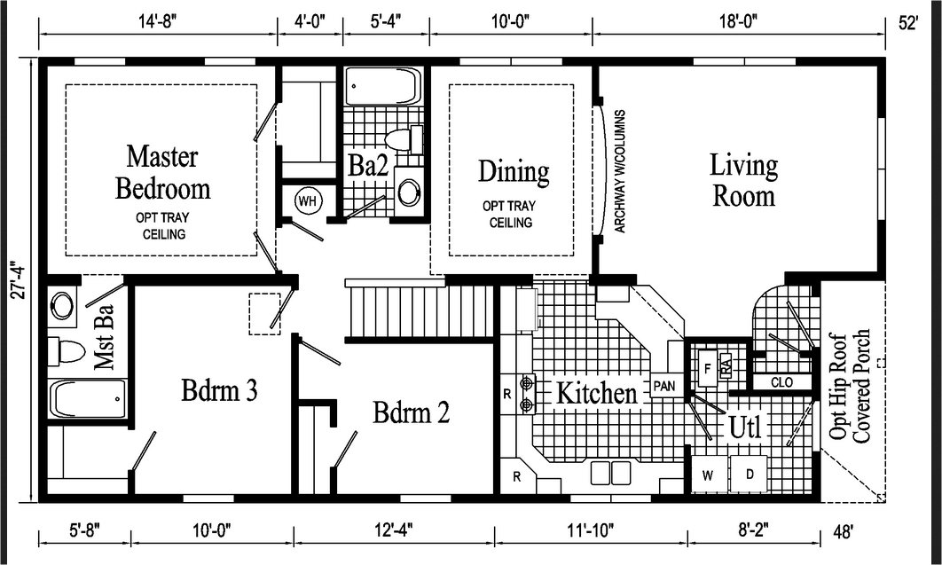 18 x 60 Mobile Home Floor Plans